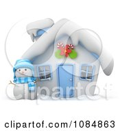 Clipart 3d Christmas House With A Snowman In The Yard Royalty Free CGI Illustration