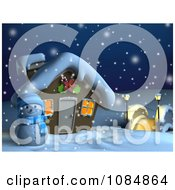 Clipart 3d Snowman And Christmas House On A Snowing Winter Night Royalty Free CGI Illustration