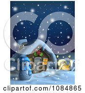 Clipart 3d Snowman And Christmas Home On A Snowing Winter Night Royalty Free CGI Illustration