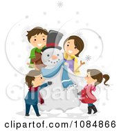 Clipart Happy Family Making A Snowman Royalty Free Vector Illustration