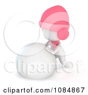 Clipart 3d Ivory Girl Making A Giant Snowball For A Snowman Royalty Free CGI Illustration