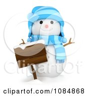 Clipart 3d Winter Snowman With A Wooden Sign Royalty Free CGI Illustration