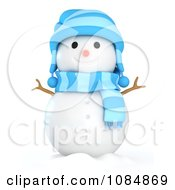 Clipart 3d Winter Snowman With A Red Hat And Scarf Royalty Free CGI Illustration