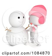Clipart 3d Ivory Girl Making A Snowman Royalty Free CGI Illustration