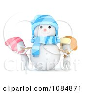 Clipart 3d Ivory Kids Putting Arms On A Snowman Royalty Free CGI Illustration