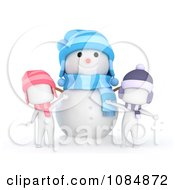Clipart 3d Ivory Kids Presenting A Snowman Royalty Free CGI Illustration