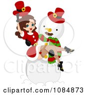 Christmas Pinup Woman In A Snowmans Arms