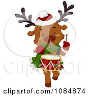 Clipart Christmas Reindeer Drummer Royalty Free Vector Illustration