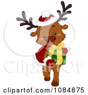 Clipart Christmas Reindeer Carrying A Gift Royalty Free Vector Illustration by BNP Design Studio
