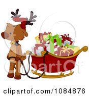 Clipart Christmas Reindeer With A Full Sleigh Royalty Free Vector Illustration by BNP Design Studio