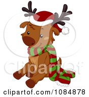 Clipart Christmas Reindeer Sitting With A Scarf And Santa Hat Royalty Free Vector Illustration by BNP Design Studio