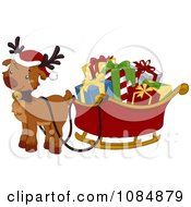 Clipart Christmas Reindeer With A Sleigh Full Of Presents Royalty Free Vector Illustration