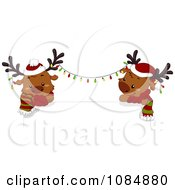Clipart Christmas Reindeer With Lights Over A Sign Royalty Free Vector Illustration