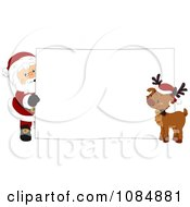 Santa Claus And A Reindeer With A Christmas Sign