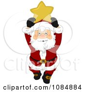 Santa Claus Holding Up A Christmas Star