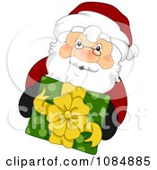 Clipart Santa Claus Holding Up A Christmas Gift Royalty Free Vector Illustration by BNP Design Studio