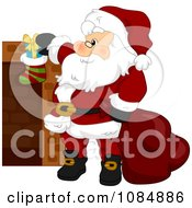 Clipart Santa Claus Stuffing A Christmas Stocking Royalty Free Vector Illustration by BNP Design Studio