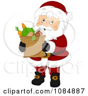 Santa Claus Carrying A Bag Of Groceries