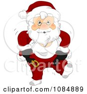 Santa Claus Dressing In His Christmas Suit