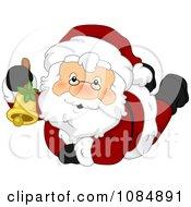 Clipart Santa Claus Ringing A Christmas Bell Royalty Free Vector Illustration