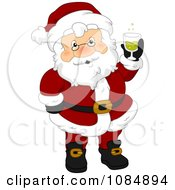 Clipart Santa Claus Holding A Christmas Drink Royalty Free Vector Illustration
