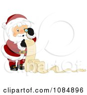 Santa Claus Reviewing His Christmas List With Copyspace