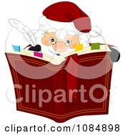 Clipart Santa Claus Writing In His Christmas Book Royalty Free Vector Illustration by BNP Design Studio