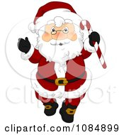 Santa Claus Holding Up A Christmas Candy Cane