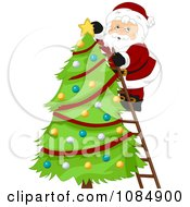 Santa Claus On A Ladder Decorating A Christmas Tree