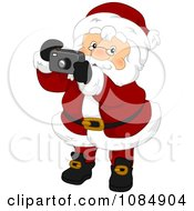 Clipart Santa Claus Taking Christmas Pictures Royalty Free Vector Illustration