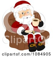 Santa Claus Sitting And Drinking Coffee