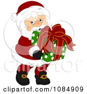 Santa Claus Carrying A Christmas Gift Box