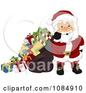 Santa Claus Carrying An Overloaded Gift Sack