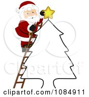 Santa Claus Putting A Christmas Star On An Outlined Tree