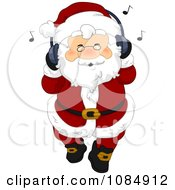 Santa Claus Listing To Christmas Music Through Headphones