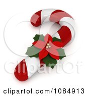 Clipart 3d Poinsettia Flower On A Christmas Candy Cane Royalty Free CGI Illustration