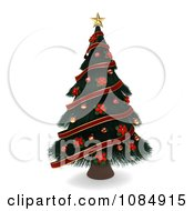 Clipart 3d Christmas Tree Decorated In Poinsettias And Ribbons Royalty Free CGI Illustration