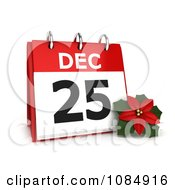 Clipart 3d Christmas Poinsettia Flower And Calendar Royalty Free CGI Illustration by BNP Design Studio
