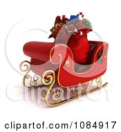 Clipart 3d Sack Of Christmas Gifts In A Sleigh Royalty Free CGI Illustration