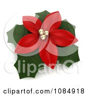 Clipart 3d Red Poinsettia Flower And Leaves Royalty Free CGI Illustration by BNP Design Studio