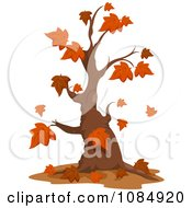 Clipart Nearly Bare Autumn Tree Royalty Free Vector Illustration