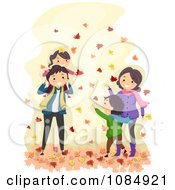 Clipart Happy Family Playing In Autumn Leaves Royalty Free Vector Illustration