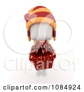 Clipart 3d Ivory Boy Holding A Christmas Gift Royalty Free CGI Illustration by BNP Design Studio