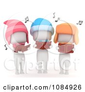 Clipart 3d Ivory Kids Singing Christmas Carols Royalty Free CGI Illustration