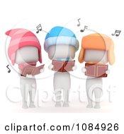 Clipart 3d Ivory Kids Singing Christmas Carols Royalty Free CGI Illustration