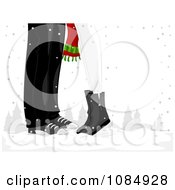 Clipart Christmas Couple With Their Feet Together In The Snow Royalty Free Vector Illustration