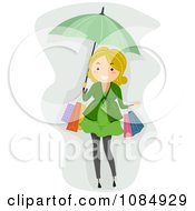 Clipart Blond Pregnant Woman Shopping With An Umbrella Royalty Free Vector Illustration