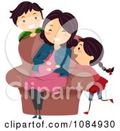 Clipart Happy Son Watching A Daughter Rubbing Her Pregnant Moms Baby Bump Royalty Free Vector Illustration