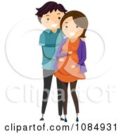Clipart Happy Couple With The Man Rubbing The Baby Bump Royalty Free Vector Illustration