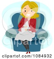 Clipart Blond Pregnant Woman Rubbing Her Baby Bump Royalty Free Vector Illustration